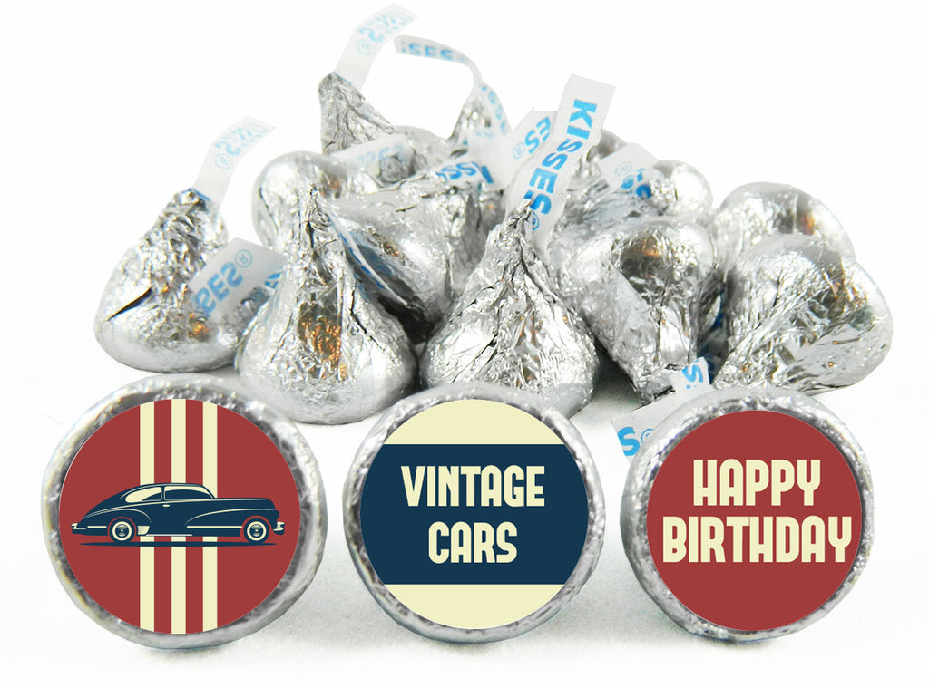 Vintage Car Birthday Party Labels for Hershey's Kisses