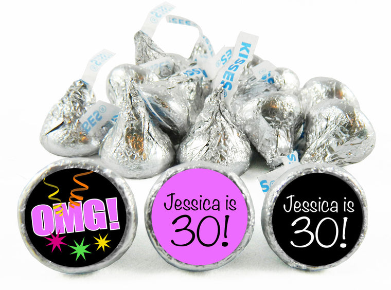 OMG Girl Birthday Labels for Hershey's Kisses