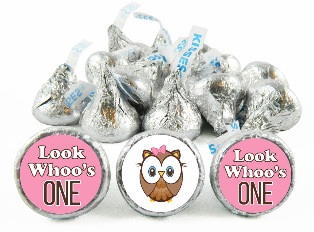 Look Whoos One Owl Girl Birthday Labels for Hershey's Kisses