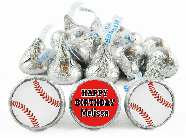 Girl Baseball Birthday Party Labels for Hershey's Kisses