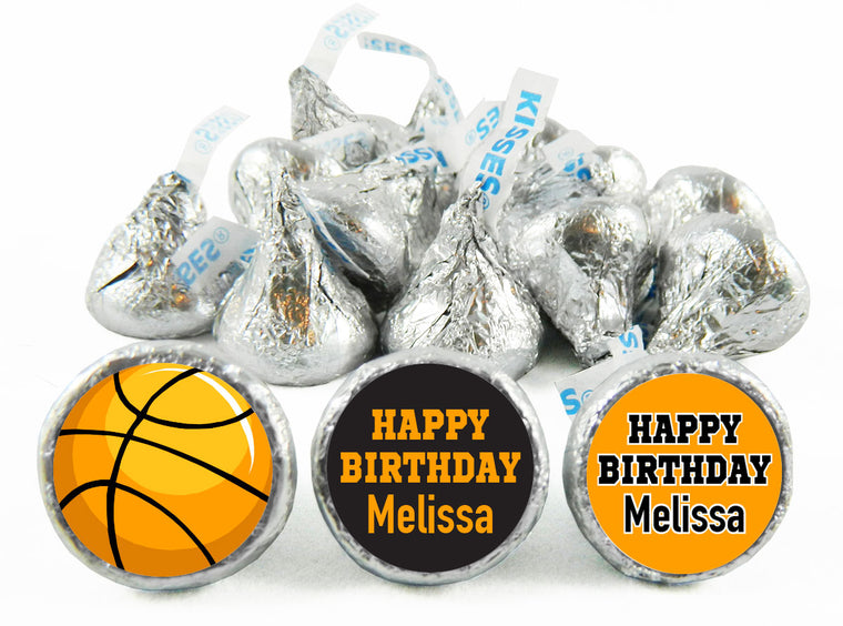 Girl Basketball Birthday Party Labels for Hershey's Kisses