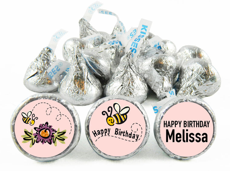 Happy Bee Day Girl Birthday Labels for Hershey's Kisses