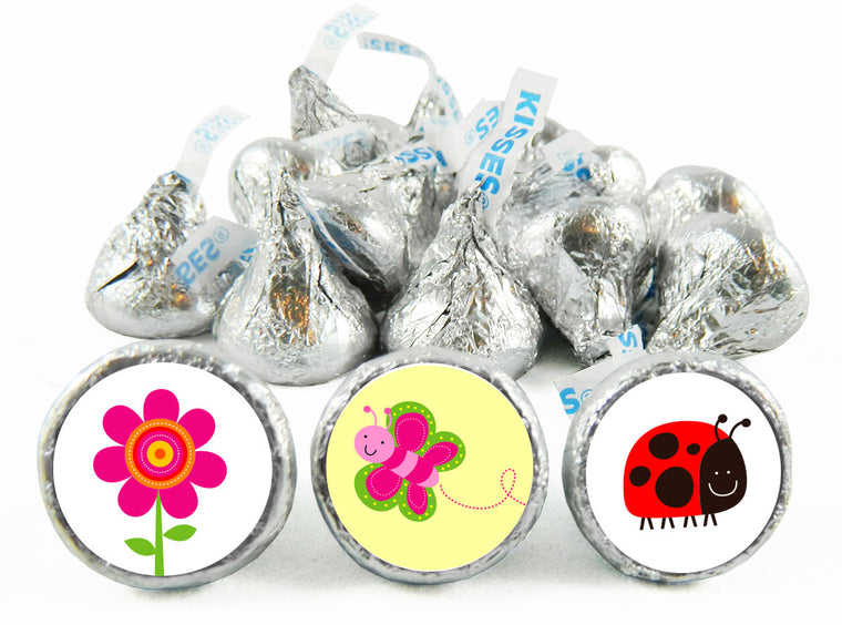Flowers Bugs and Butterflies Girl Birthday Labels for Hershey's Kisses