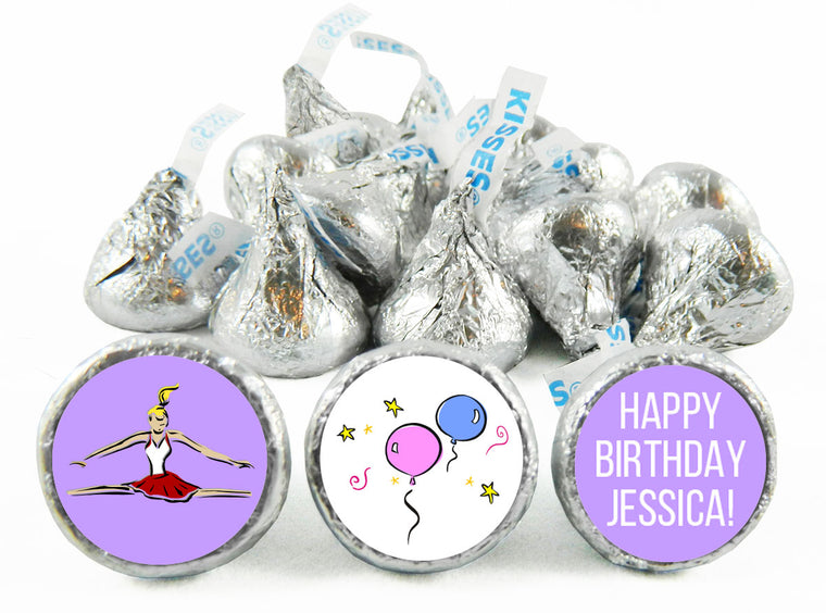 Gymnastics Party Girl Birthday Labels for Hershey's Kisses