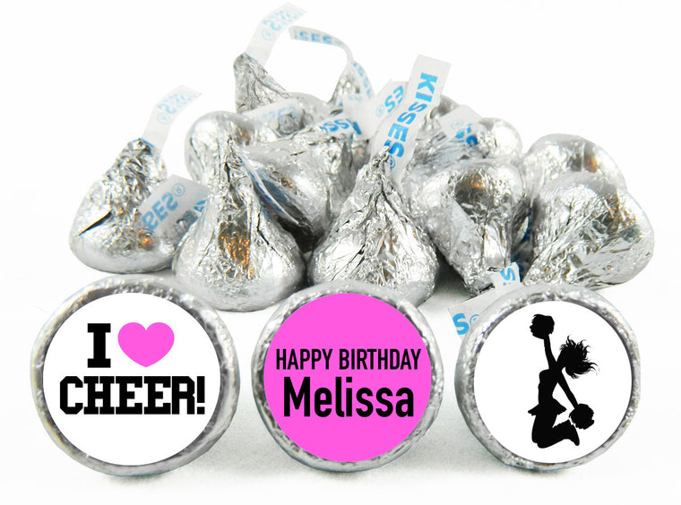 I Heart Cheer Girl Birthday Labels for Hershey's Kisses