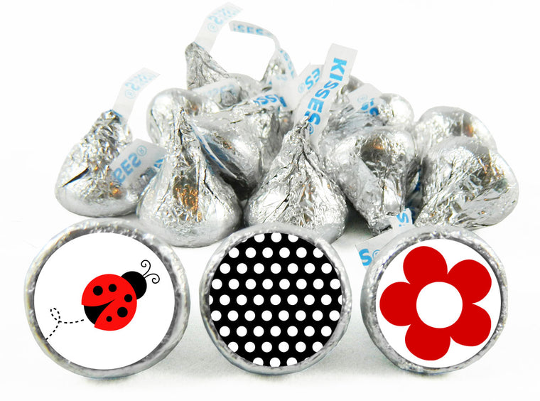 Lady Bug Fancy Girl Birthday Labels for Hershey's Kisses