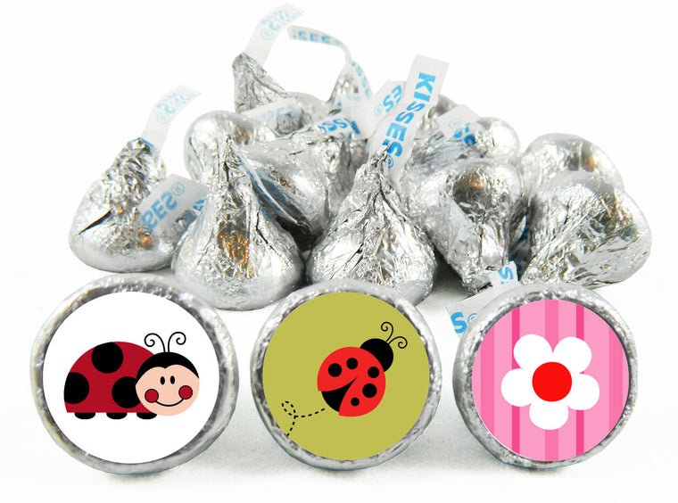 Lady Bug Girl Birthday Labels for Hershey's Kisses