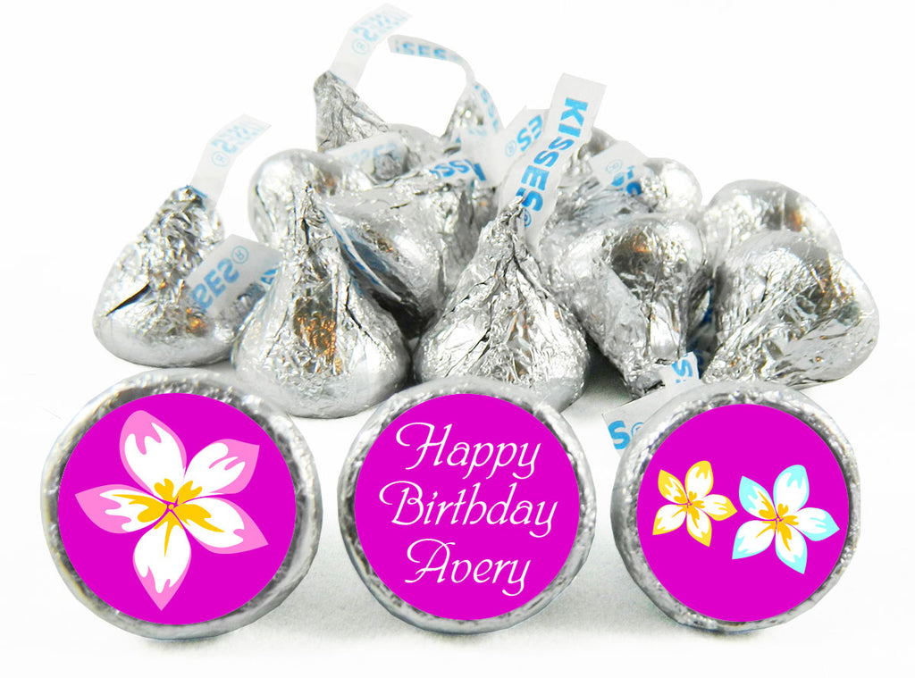 Luau Girl Birthday Labels for Hershey's Kisses