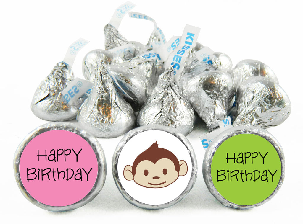 Mod Monkey Girl Birthday Labels for Hershey's Kisses