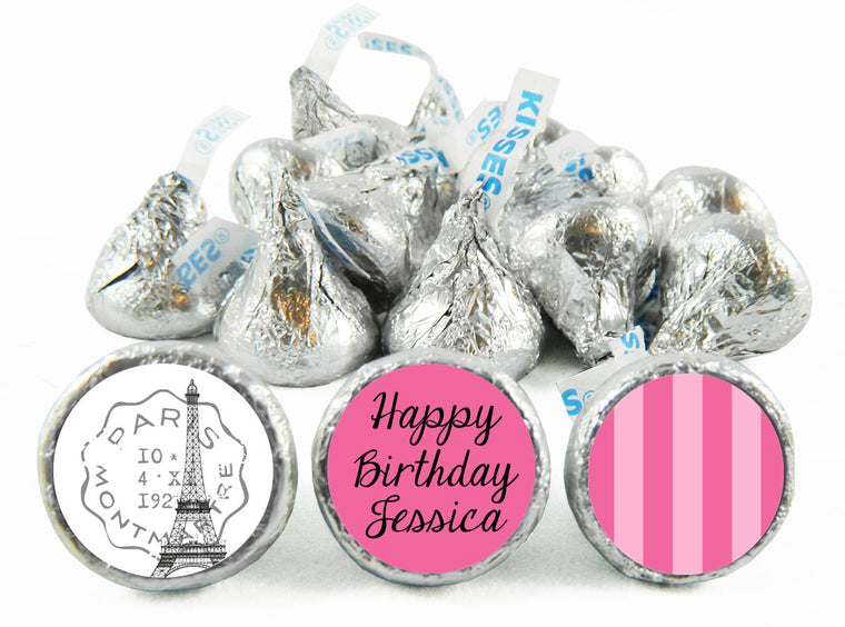 Paris Party Birthday Labels for Hershey's Kisses