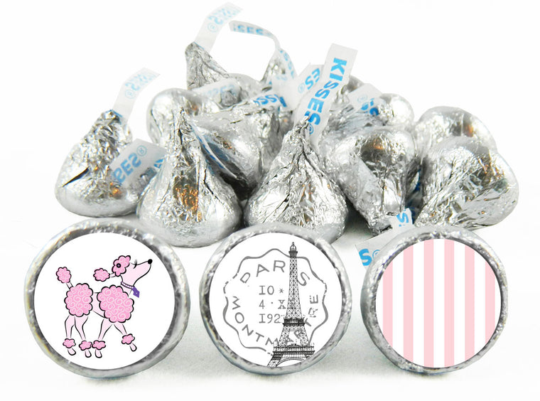 Pink Poodle Paris Party Birthday Labels for Hershey's Kisses