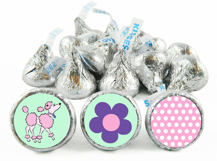 Pink Poodle Party Birthday Labels for Hershey's Kisses