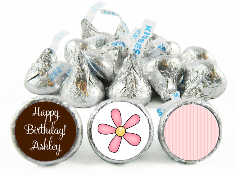 Brown and Pink Girl Birthday Labels for Hershey's Kisses