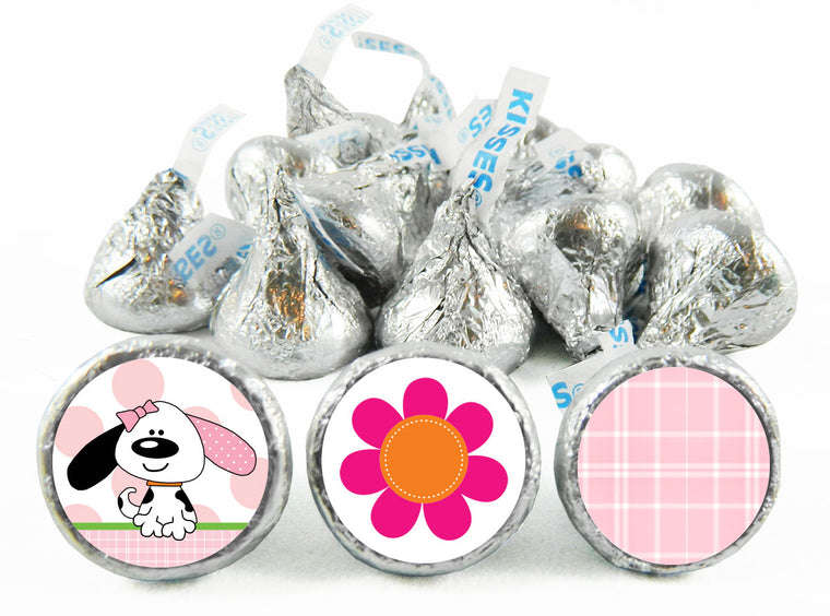 Playful Puppy Pink Birthday Labels for Hershey's Kisses