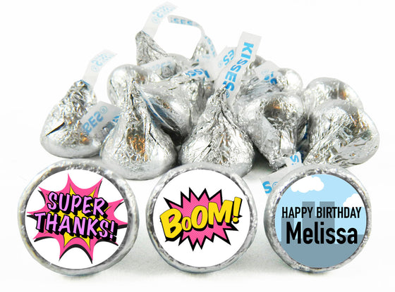 Super Hero Girl Birthday Party Labels for Hershey's Kisses