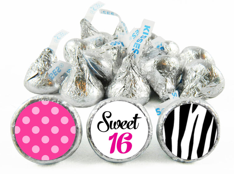Sweet Sixteen Girl Birthday Party Labels for Hershey's Kisses