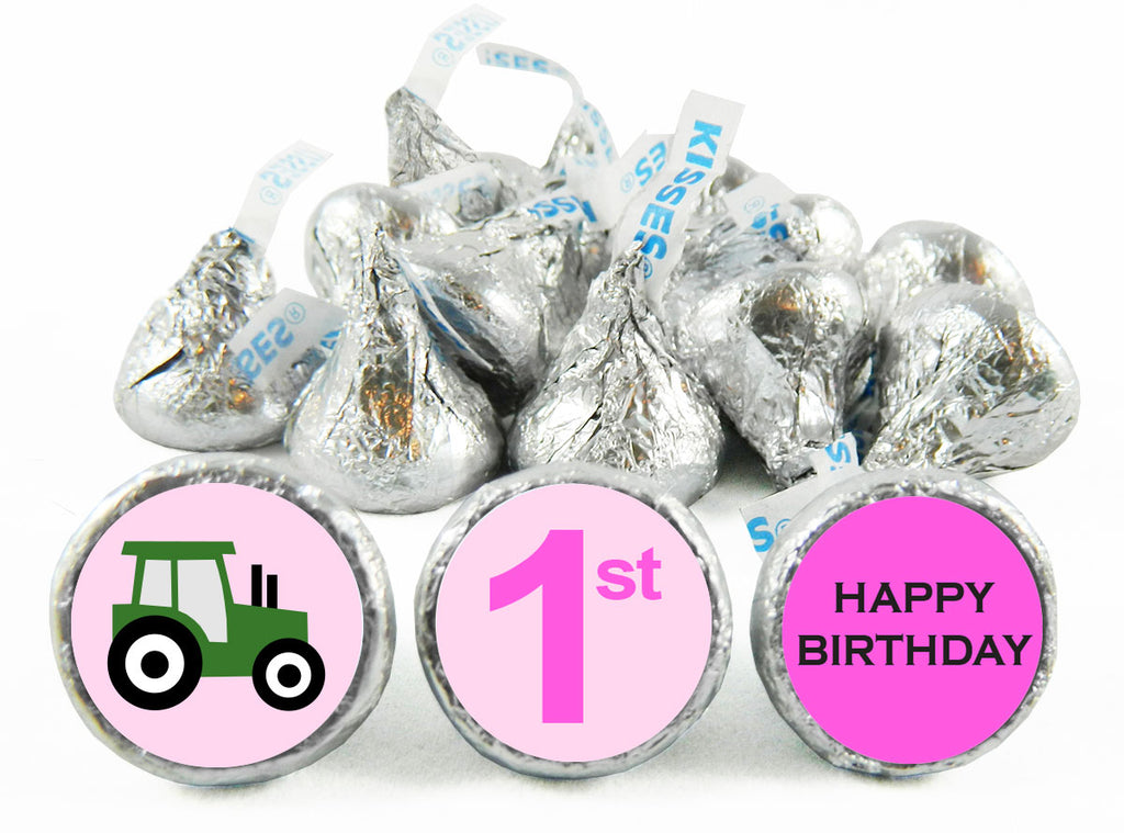 Tractor Girl Birthday Party Labels for Hershey's Kisses