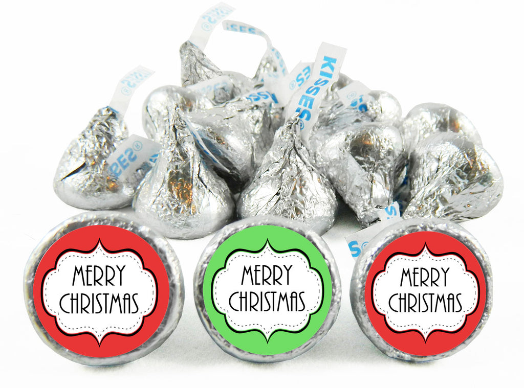 Merry Christmas Stamp Labels for Hershey's Kisses
