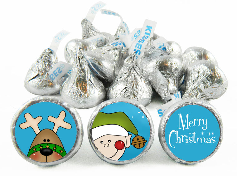 Merry Christmas Reindeer and Elf Christmas Labels for Hershey's Kisses