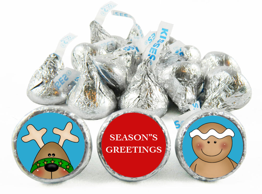 Season's Greetings Reindeer and Ginger Bread Cookie Labels for Hershey's Kisses