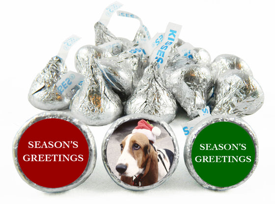 Season's Greetings Dog Christmas Labels for Hershey's Kisses
