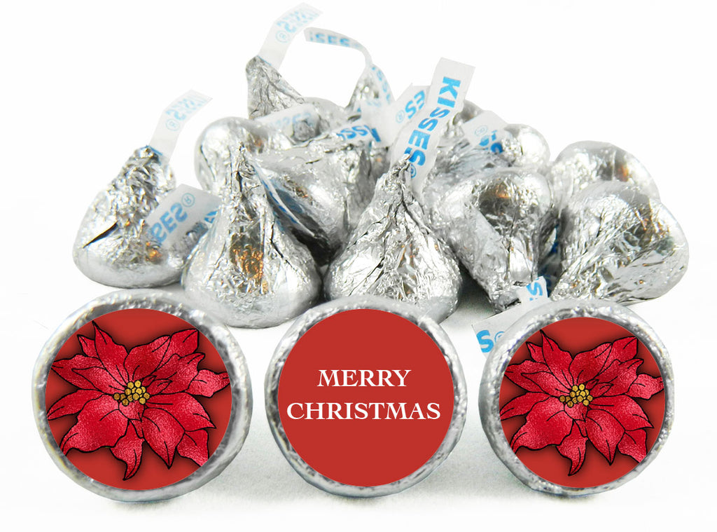Poinsettia Christmas Labels for Hershey's Kisses