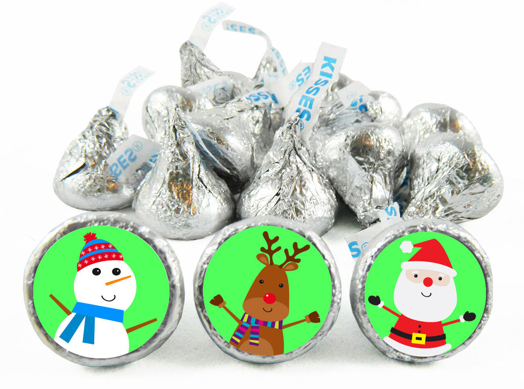 Snowman Reindeer Santa Christmas Labels for Hershey's Kisses