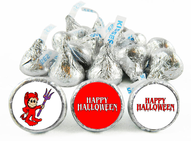Red Devil Halloween Labels for Hershey's Kisses