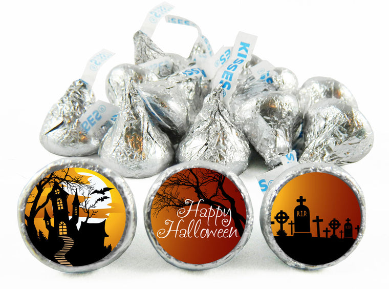 Haunted Hill Halloween Labels for Hershey's Kisses