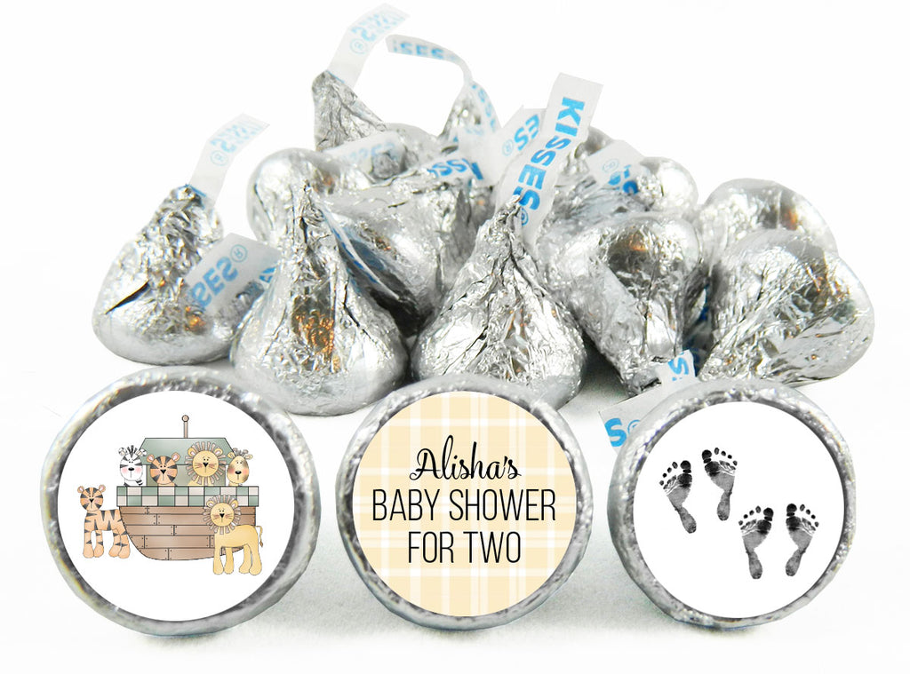 Noah's Ark Twin Baby Shower Labels for Hershey's Kisses