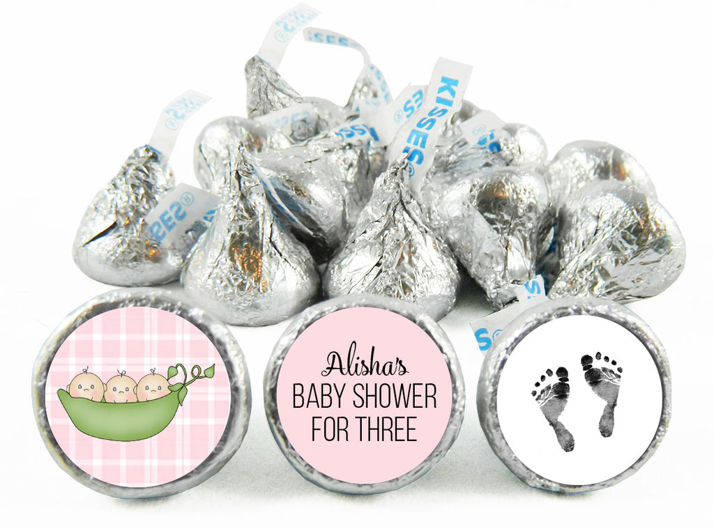 Sweet Pea Triplets Baby Shower Labels for Hershey's Kisses