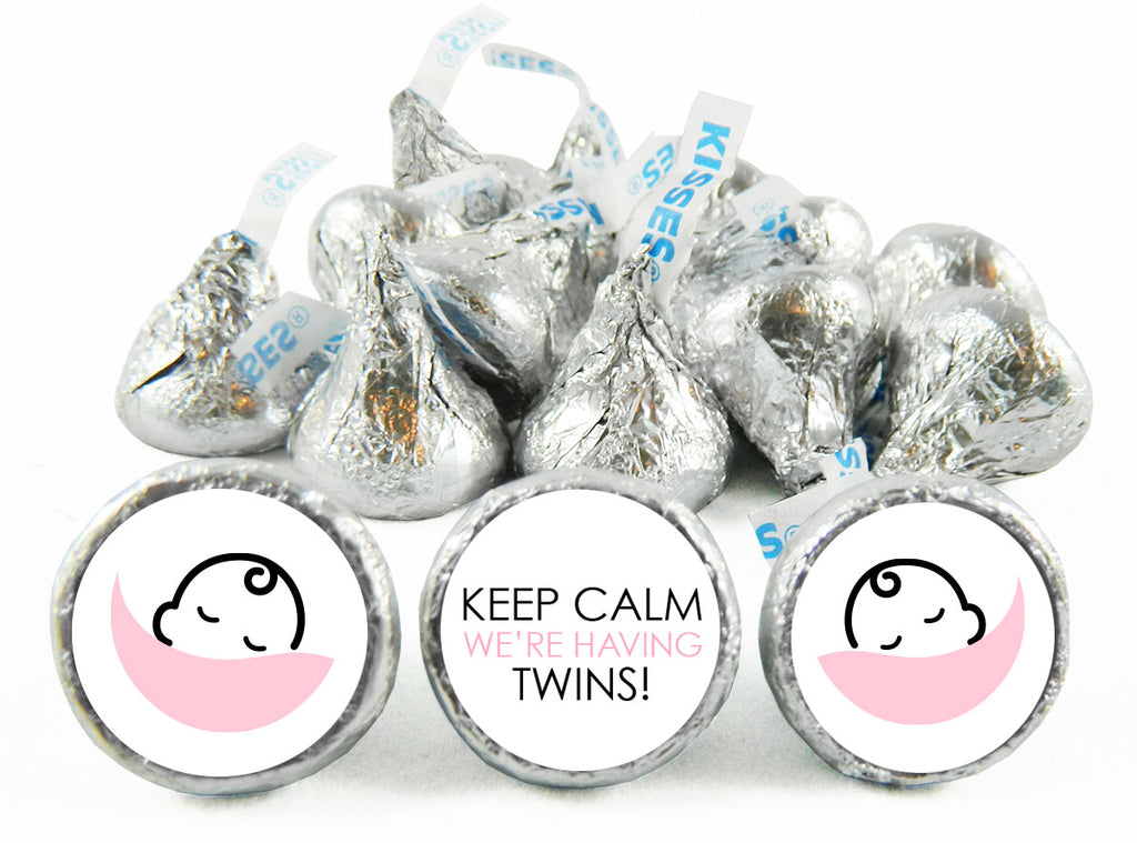 Keep Calm it's Twins! Baby Shower Labels for Hershey's Kisses