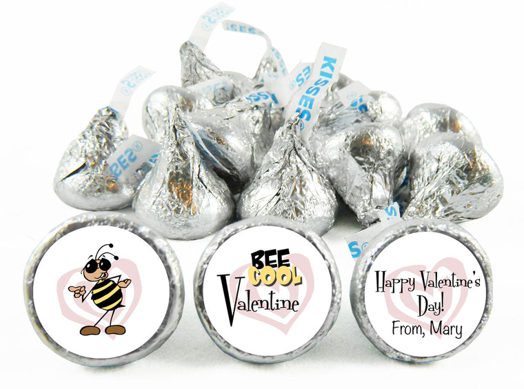 Bee Cool Valentine Valentine's Day Labels for Hershey's Kisses