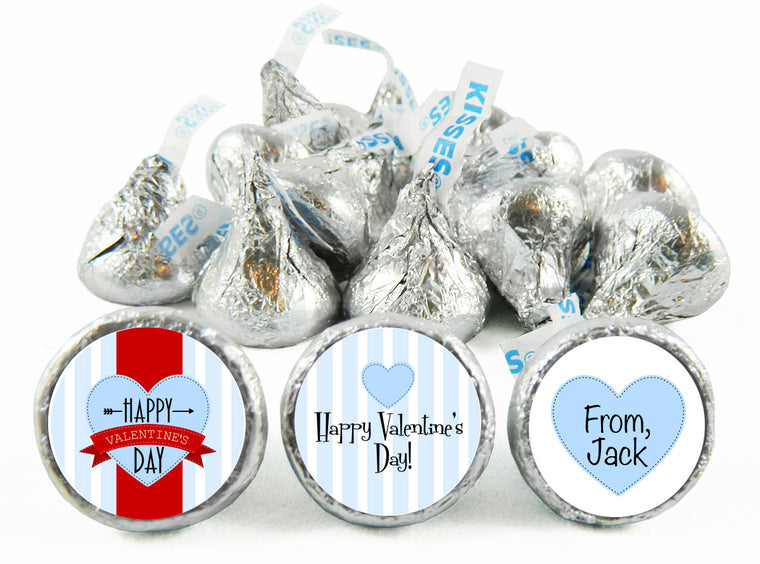 Blue Stripes Valentine's Day Labels for Hershey's Kisses