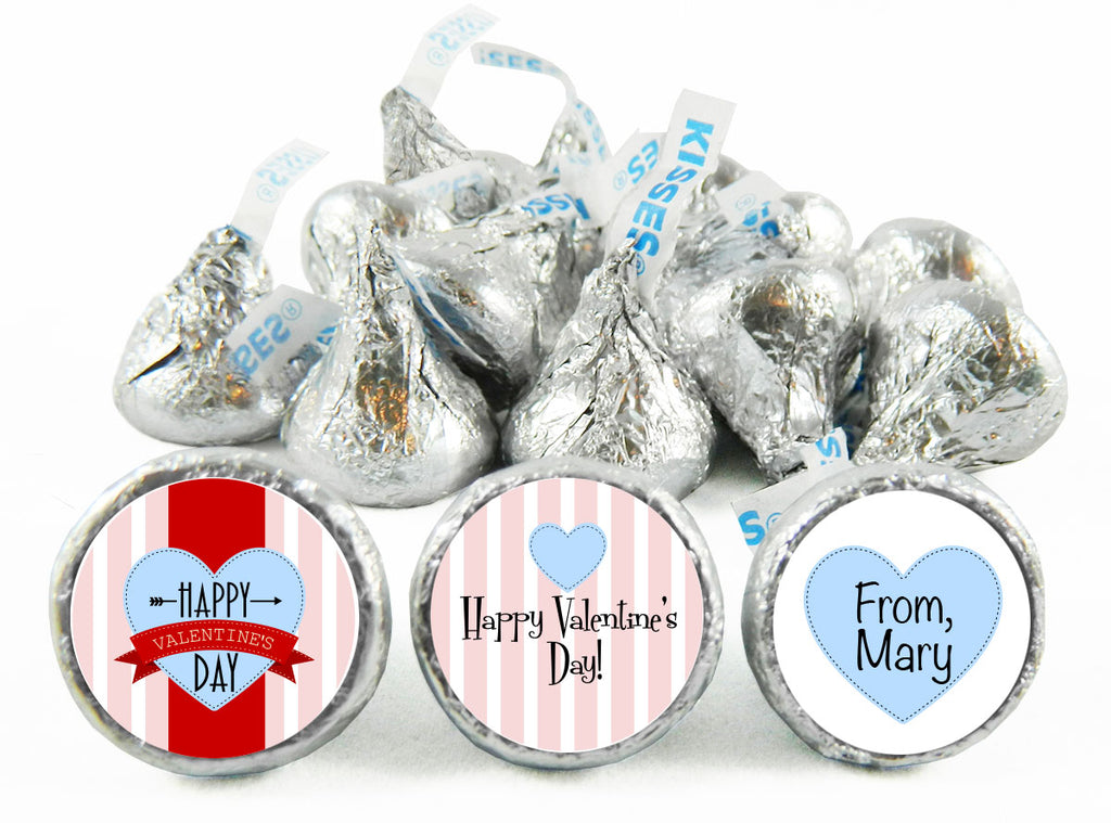 Pink Stripes Valentine's Day Labels for Hershey's Kisses