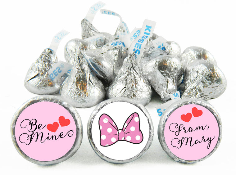 Minnie Pink Polka Dots Valentine's Day Labels for Hershey's Kisses