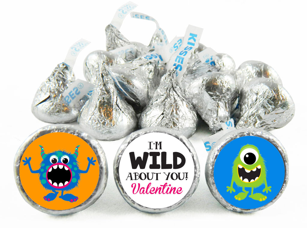 I'm Wild! Monster Valentine's Day Labels for Hershey's Kisses