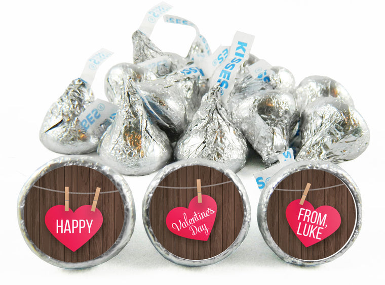 Wood Hanging Hearts Valentine's Day Labels for Hershey's Kisses