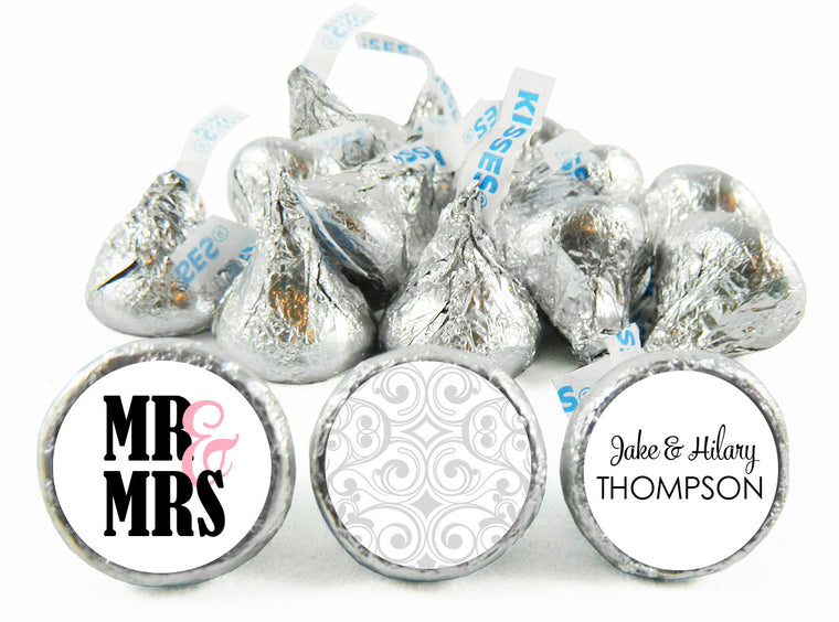 Mr and Mrs Wedding Anniversary Labels for Hershey's Kisses
