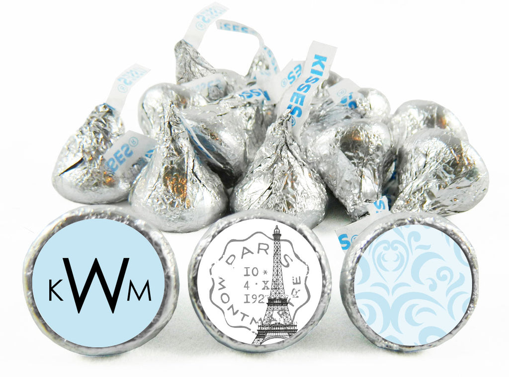 Paris Monogram Wedding Labels for Hershey's Kisses