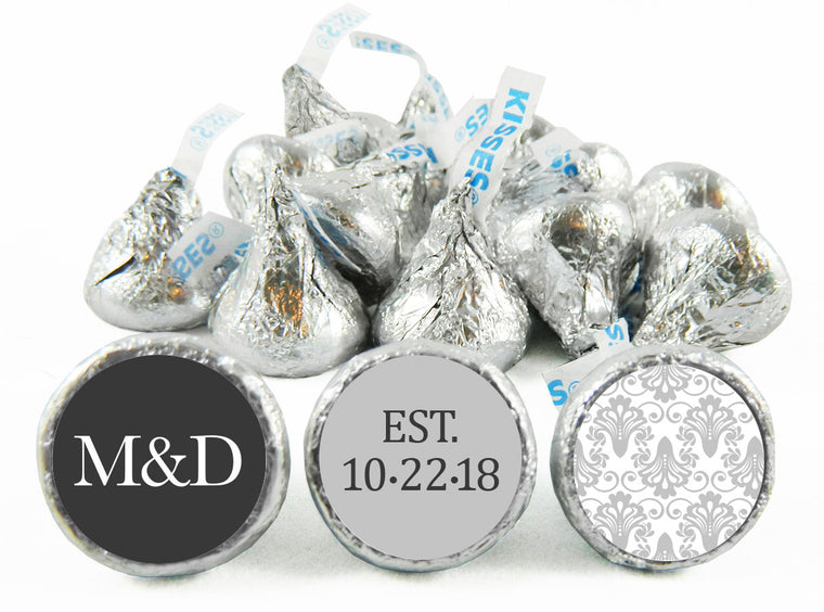 Silver Wedding Labels for Hershey's Kisses