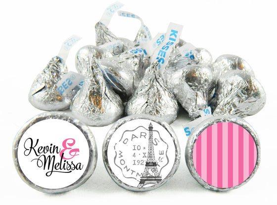 Paris Pink Stripes Wedding Stickers for Hershey's Kisses