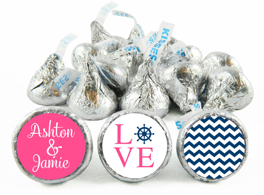 Nautical LOVE Chevron Wedding Labels for Hershey's Kisses