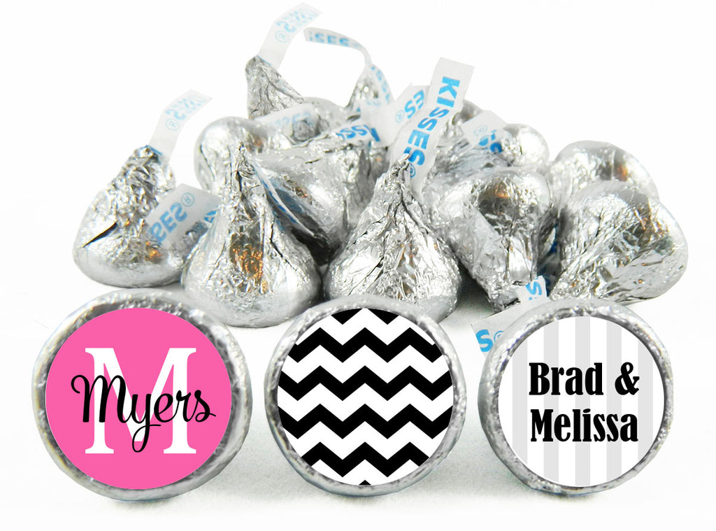 Monogram Chevron Wedding Labels for Hershey's Kisses