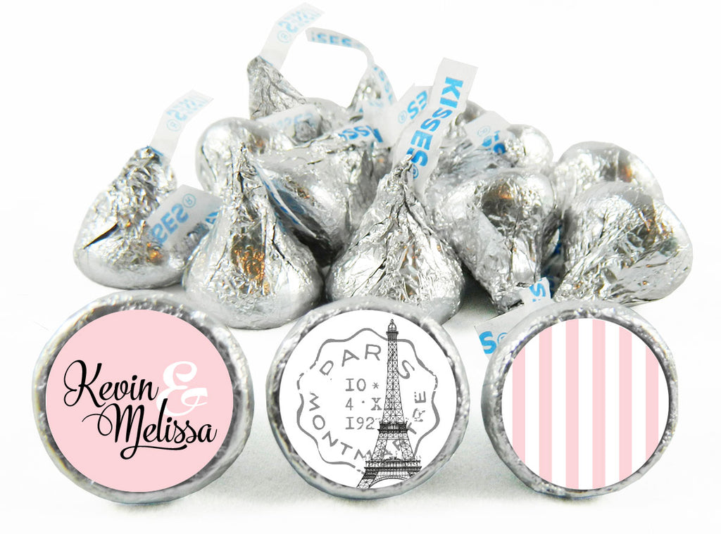 Paris Script Stripes Wedding Labels for Hershey's Kisses