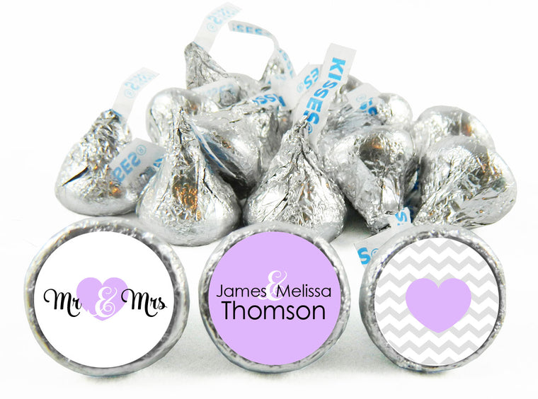 Mr and Mrs Heart Wedding Anniversary Labels for Hershey's Kisses