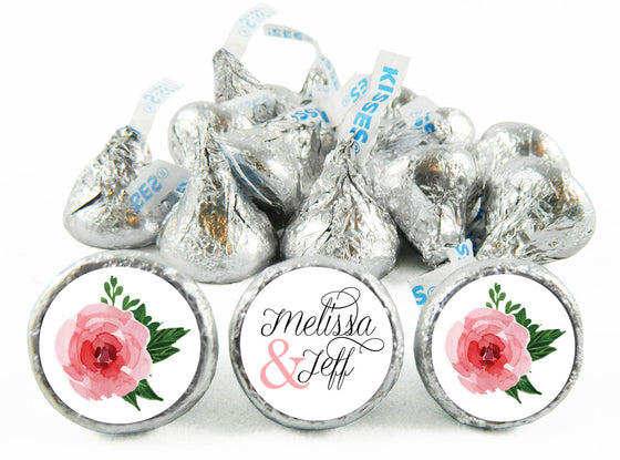 Pink Roses Script Wedding Labels for Hershey's Kisses