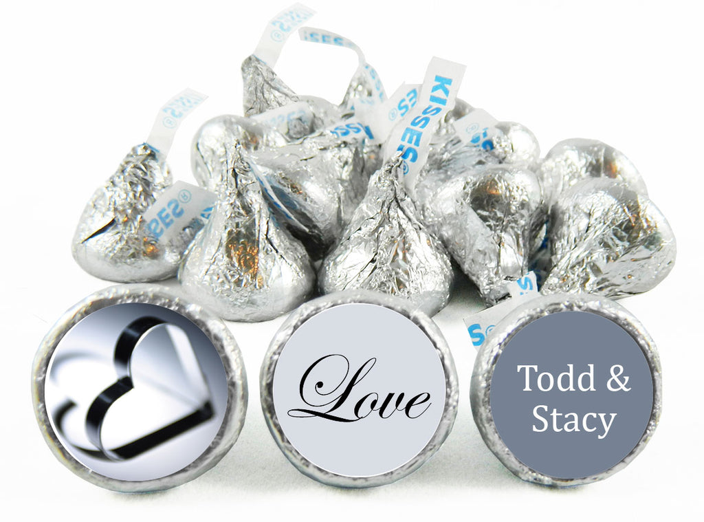 Silver Heart Wedding Labels for Hershey's Kisses
