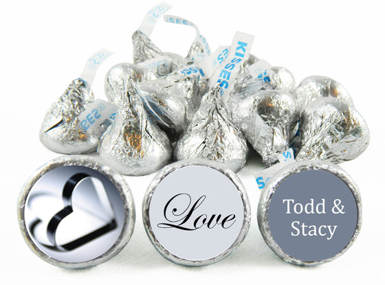 Silver Heart Wedding Anniversary Labels for Hershey's Kisses