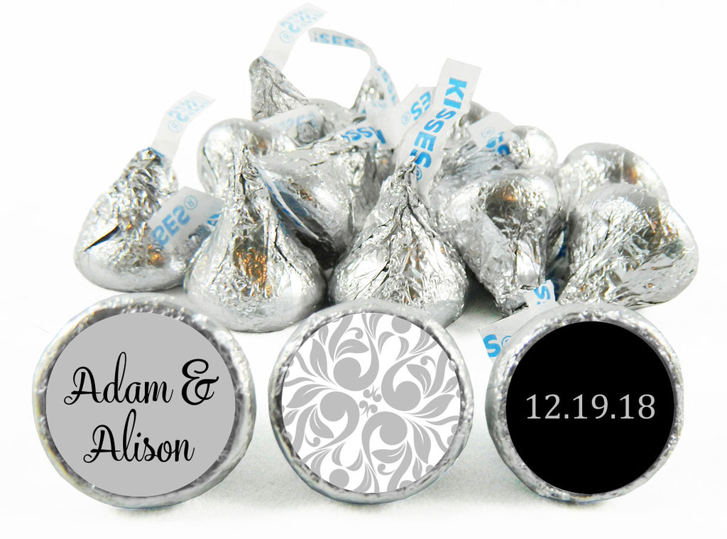 Silver Paisley Wedding Labels for Hershey's Kisses